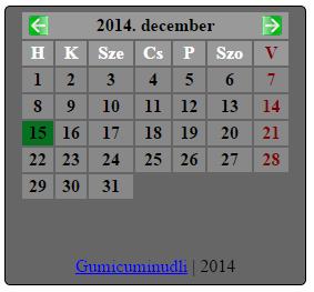 naptár honlapra PHPműhely   Egyéb scriptek naptár honlapra